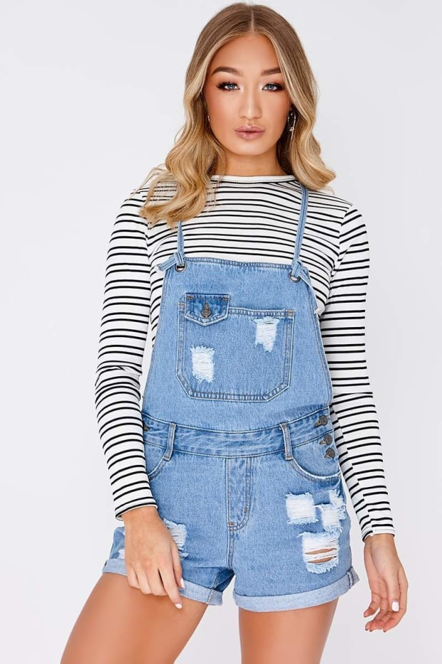 BEYZA LIGHT WASH POCKET FRONT DISTRESSED DUNGAREES