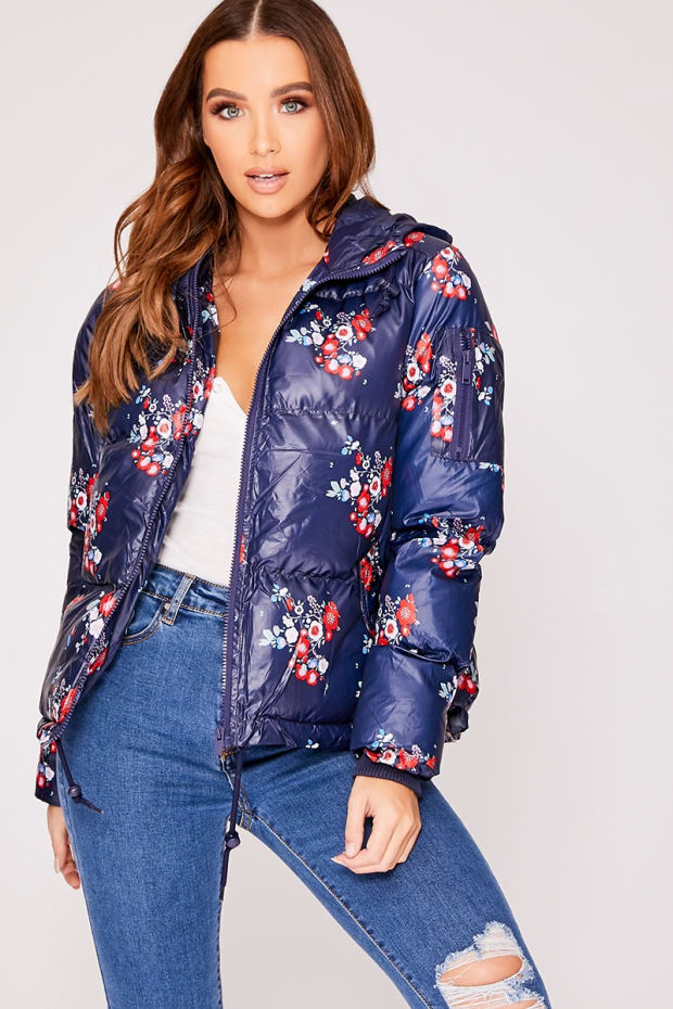 HARLEIGH NAVY FLORAL PRINT PADDED JACKET WITH HOOD