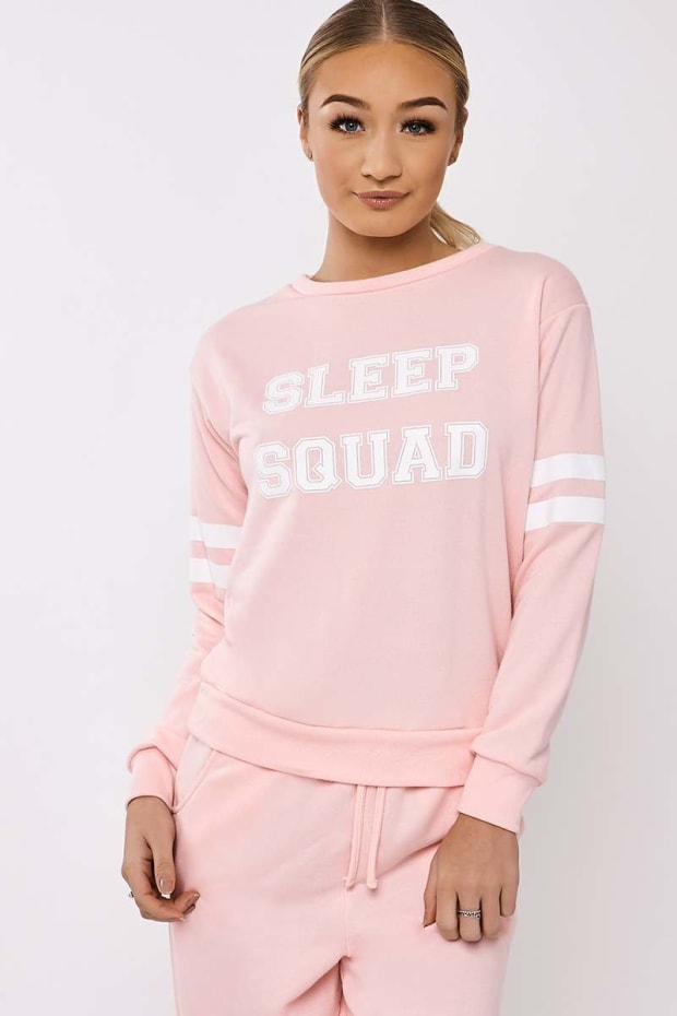 ELSA SLEEP SQUAD SLOGAN ROUND NECK PINK SWEATER