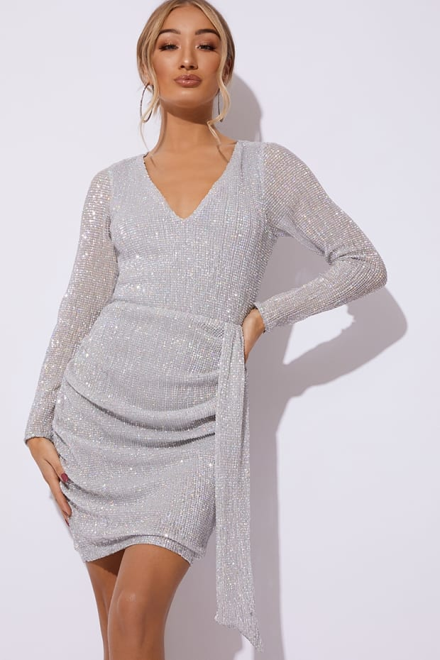 CECILY SILVER HOLOGRAPHIC SEQUIN PLUNGE DRAPE DRESS
