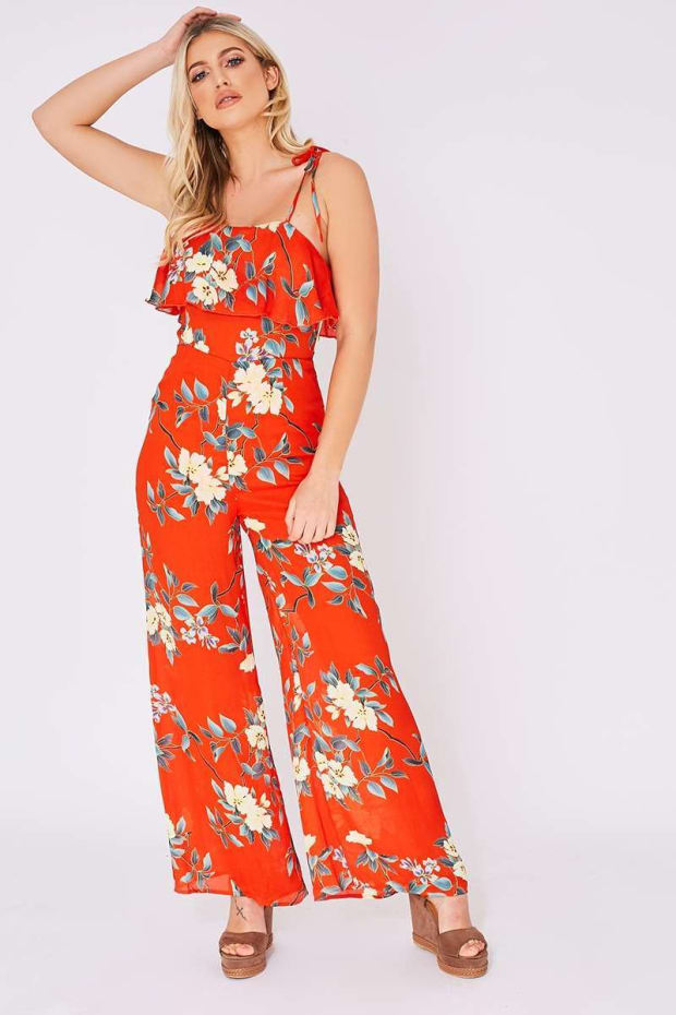 CHANTALE RED FLORAL FRILL JUMPSUIT