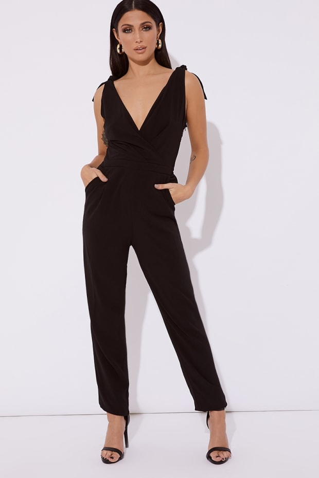 KARMENIA BLACK PLUNGE TAPERED JUMPSUIT