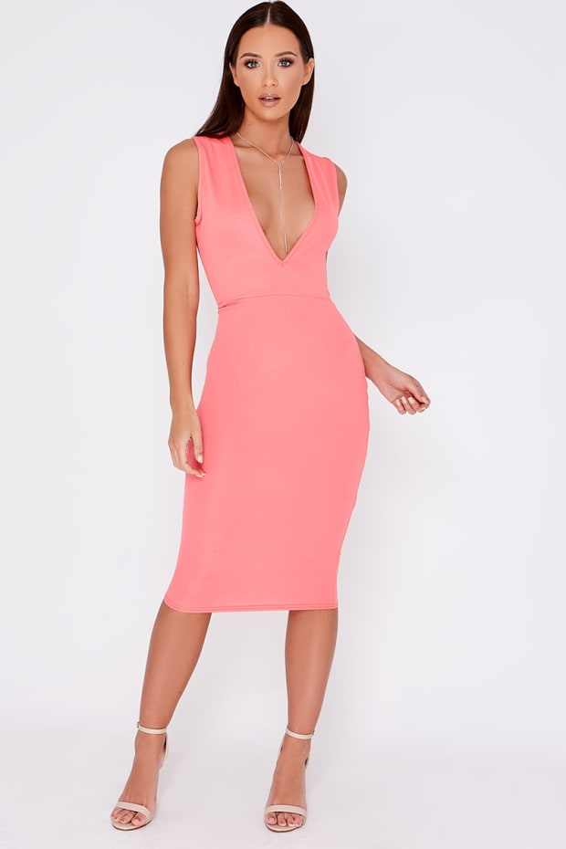 DOLLEY CORAL PLUNGE MIDI DRESS