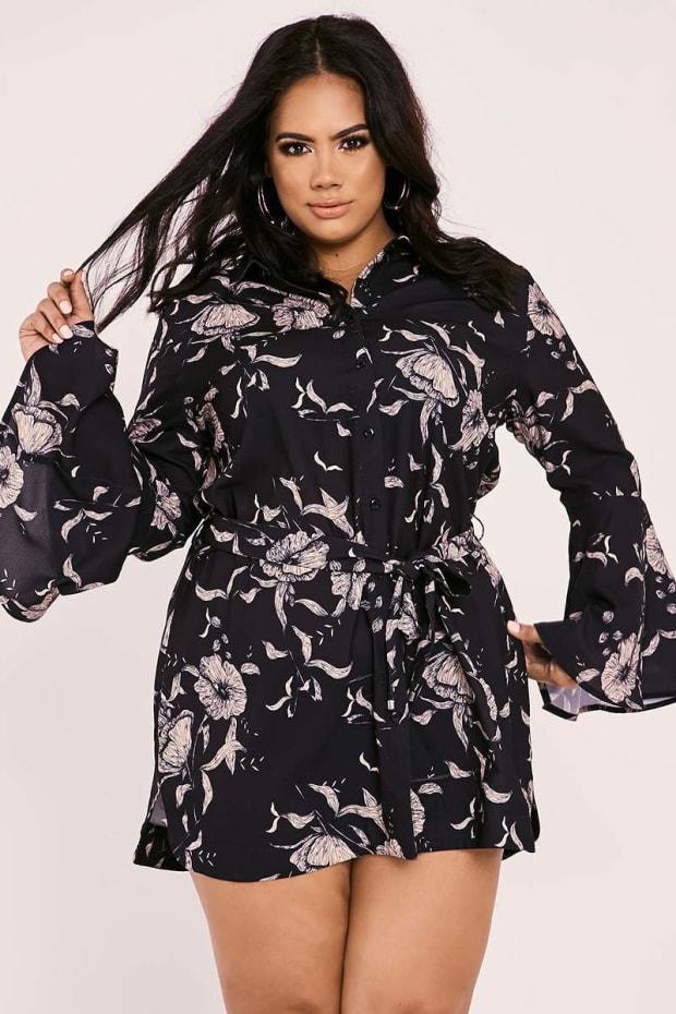 CURVE BILLIE FAIERS BLACK FLORAL PRINT FLARED SLEEVE SHIRT DRESS