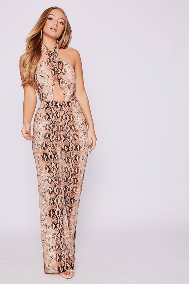 019fd35a985 BILLIE FAIERS NUDE SNAKE PRINT WRAP PALAZZO JUMPSUIT. Previous