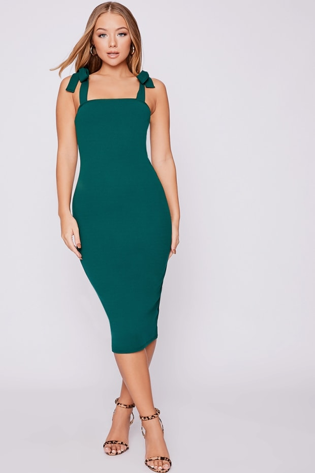 BILLIE FAIERS GREEN TIE SHOULDER MIDI DRESS