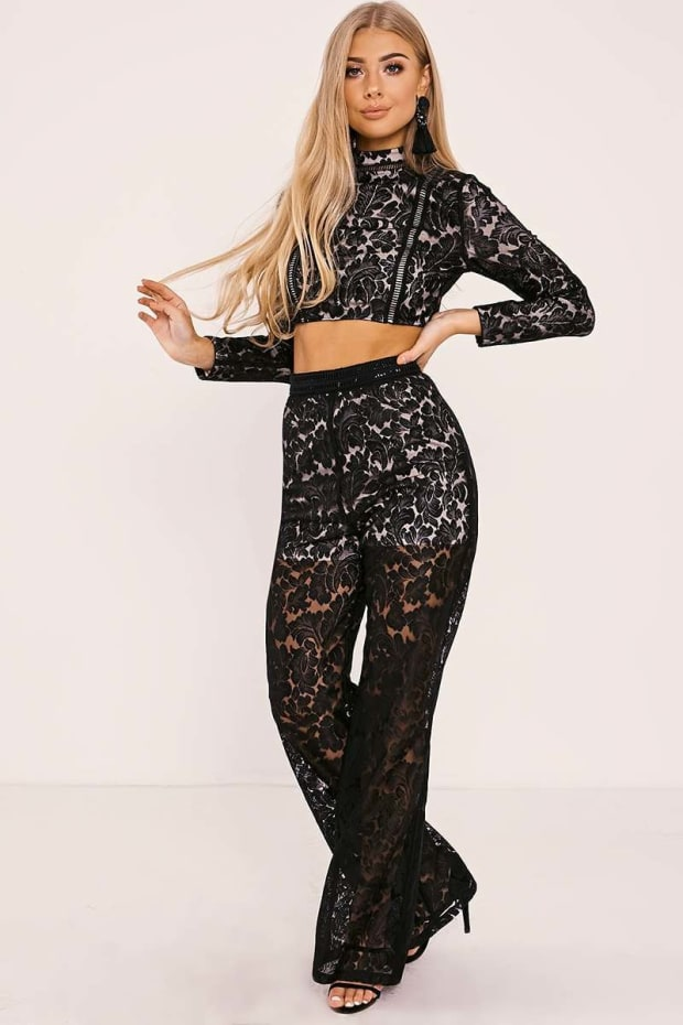 BILLIE FAIERS BLACK LACE PALAZZO TROUSERS