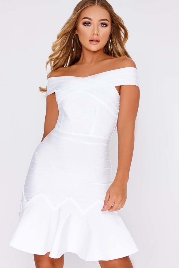 BILLIE FAIERS WHITE BARDOT BANDAGE PEPHEM DRESS