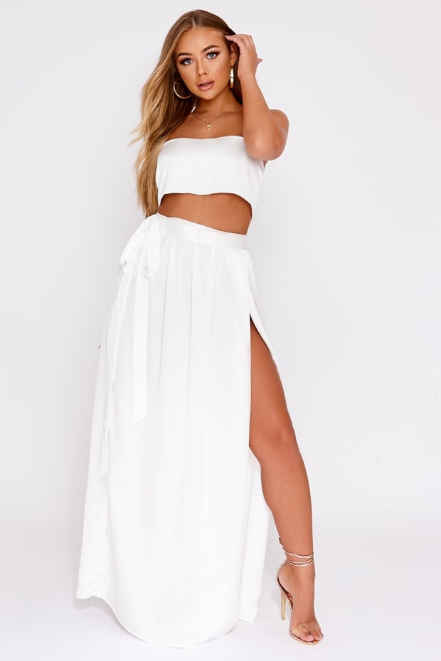 BILLIE FAIERS WHITE SATIN THIGH SPLIT MAXI SKIRT