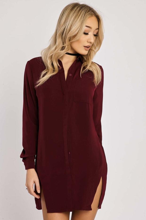BINKY OXBLOOD SPLIT FRONT SHIRT DRESS