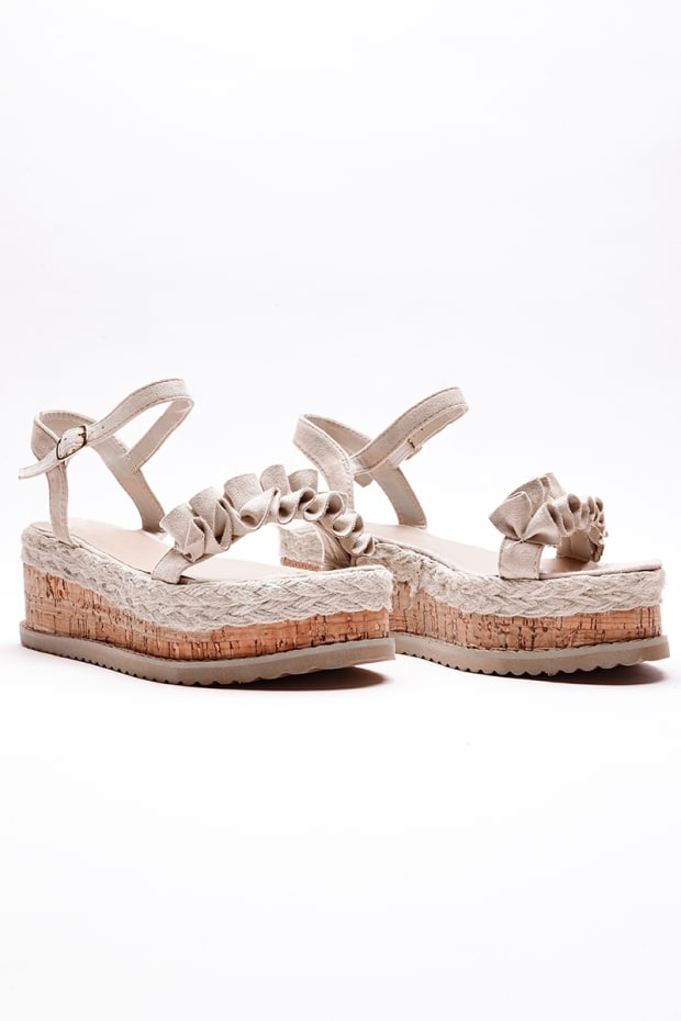 SELBY NUDE FRILL DETAIL ESPADRILLES