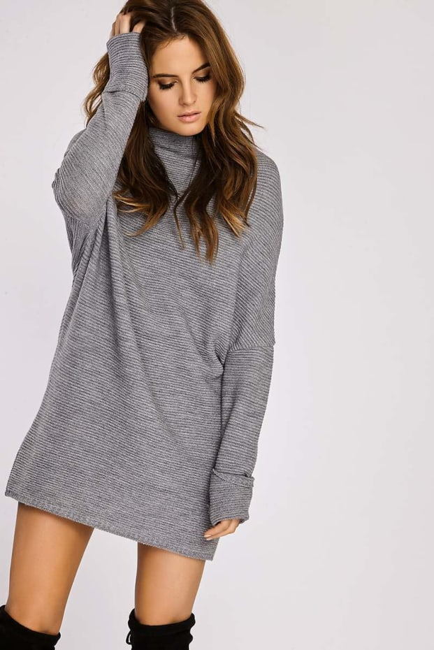 Binky Grey Slouch Jumper Dress