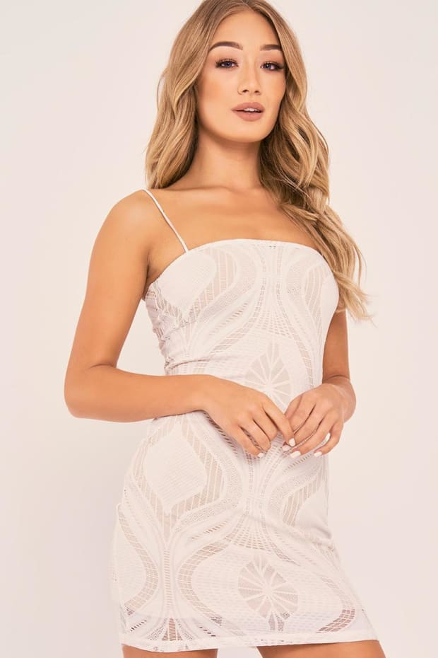 CHARLOTTE CROSBY WHITE STRAPPY LACE BODYCON DRESS