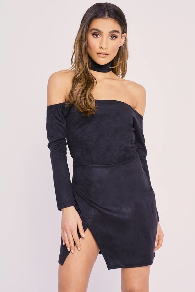 CHARLOTTE CROSBY BLACK FAUX SUEDE BARDOT SIDE SPLIT CHOKER DRESS