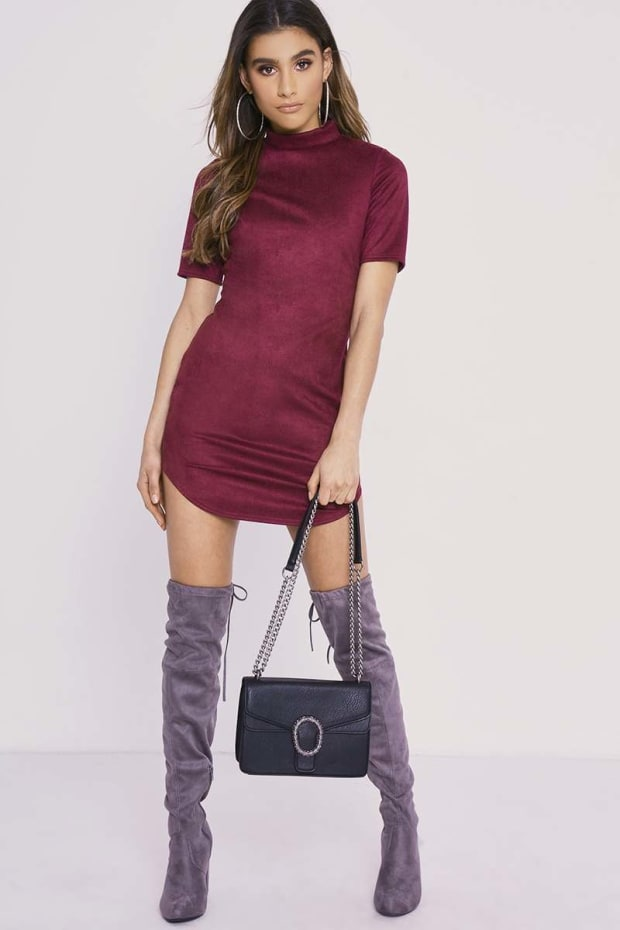 aad9c84eac5 CHARLOTTE CROSBY WINE FAUX SUEDE CURVED HEM MINI DRESS. Next