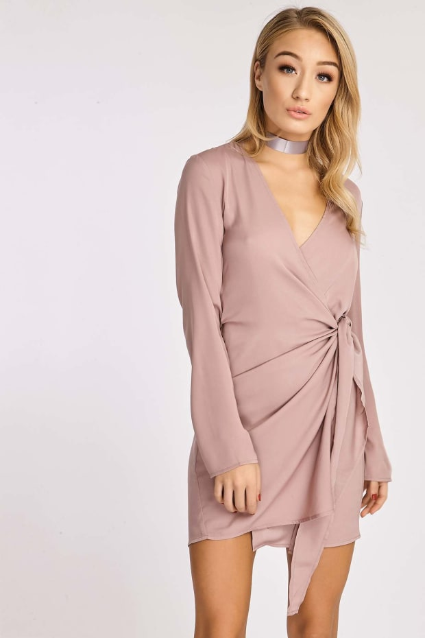 CELESTINE MINK SILKY WRAP SHIRT DRESS
