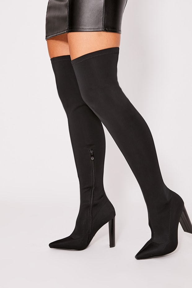 ROXEENA BLACK STRETCH HEELED OVER THE KNEE BOOTS