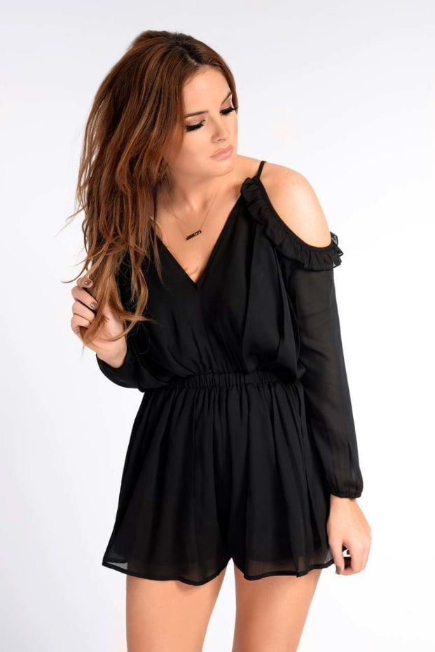 Binky Long Sleeved Black Frill Playsuit