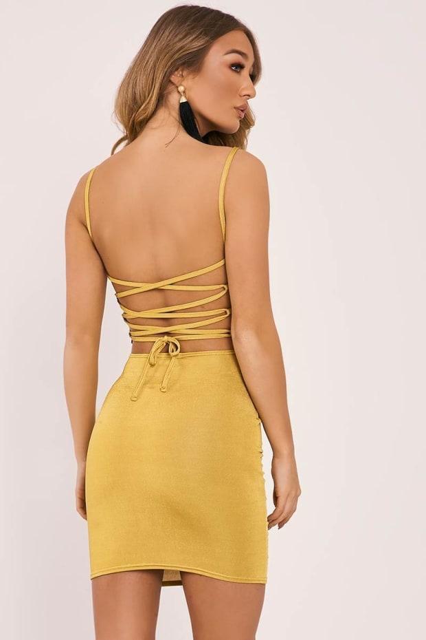 ELSBETH CHARTREUSE SLINKY LACE UP BACK BODYCON DRESS