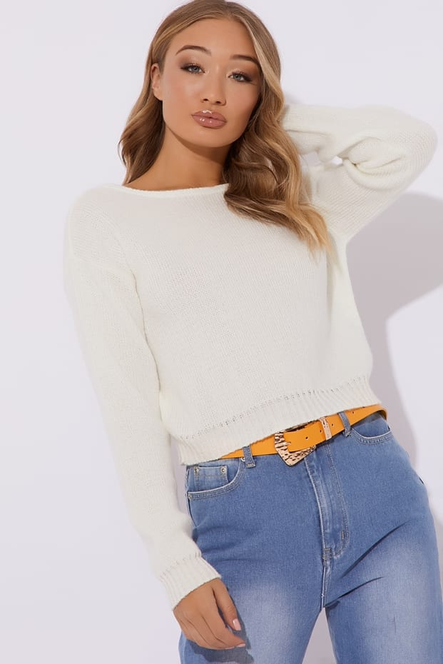 NAIMA CREAM BRUSHED V BACK CROPPED JUMPER