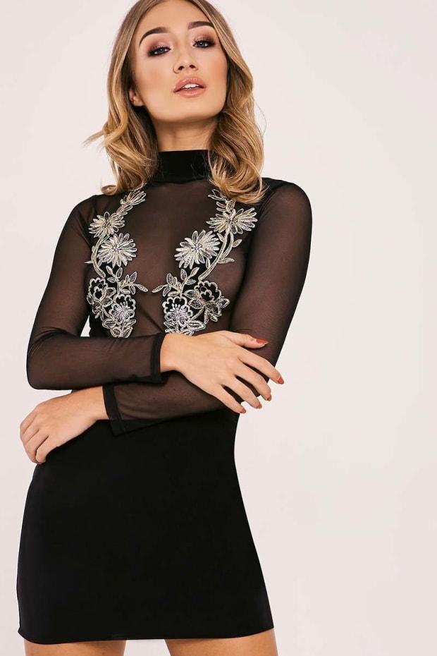 AELDRA BLACK FLORAL APPLIQUE MESH TOP BODYCON DRESS
