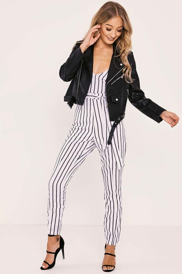 58a05b0f6254 SHANEIKA WHITE STRIPED PLUNGE BELTED JUMPSUIT. Next