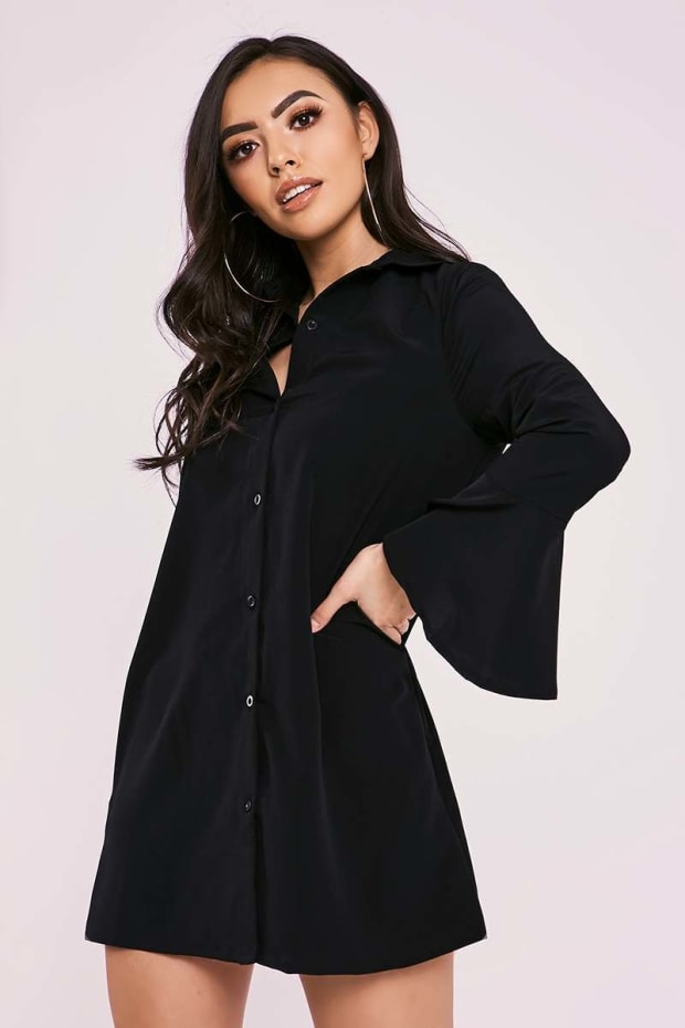 CHARLIZE BLACK FLARED SLEEVE SILKY SHIRT DRESS