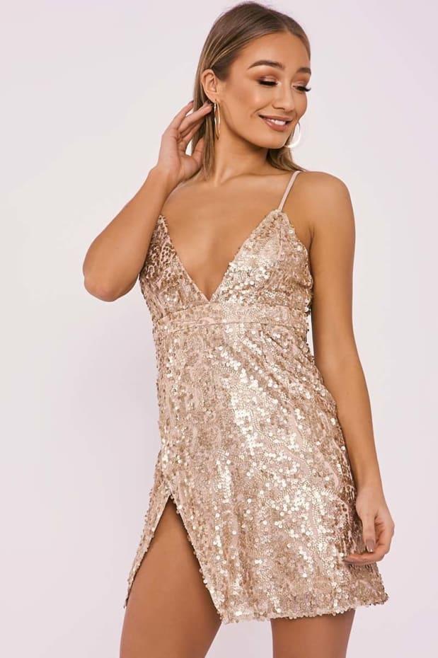 ADISA GOLD SEQUIN SPARKLE PLUNGE MINI DRESS