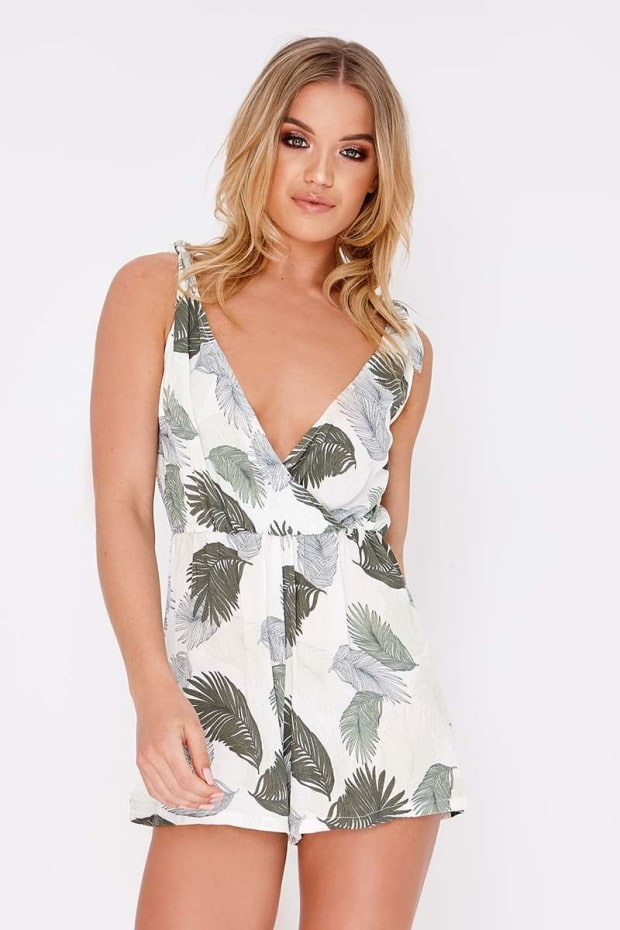 EYOTA GREEN PALM PRINT TIE PLUNGE PLAYSUIT