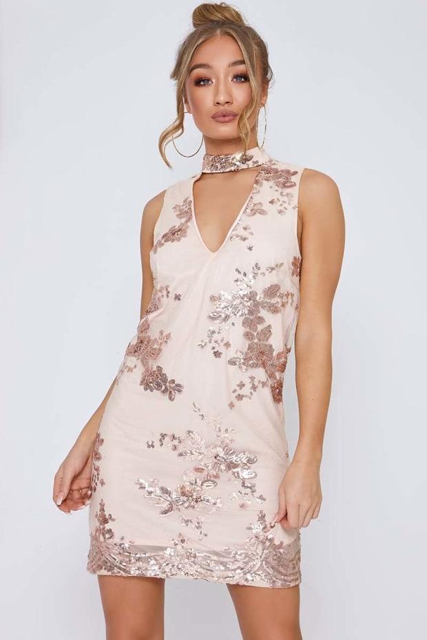 ROSANNA ROSE GOLD SEQUIN CUT OUT CHOKER DRESS