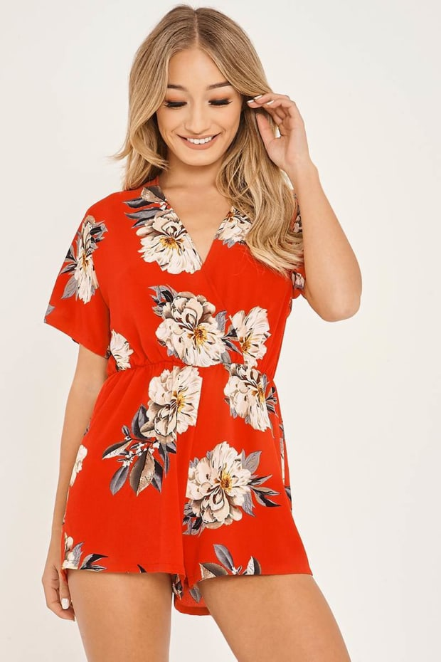 ALCINA RED FLORAL PRINT WRAP FRONT PLAYSUIT