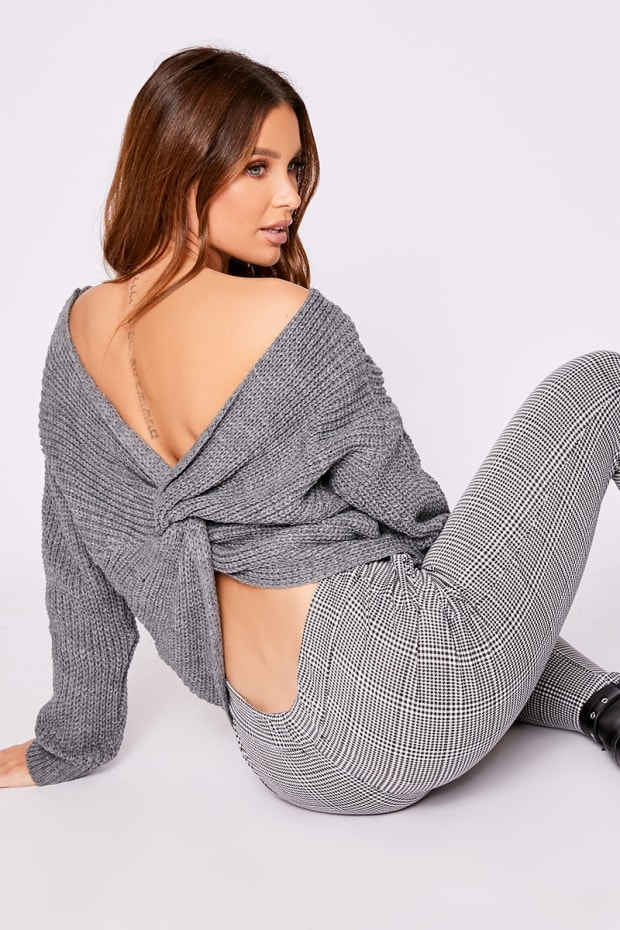 JAYA GREY TWIST BACK JUMPER