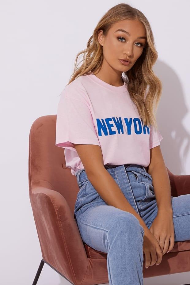 NOYA PINK NEW YORK SLOGAN T SHIRT