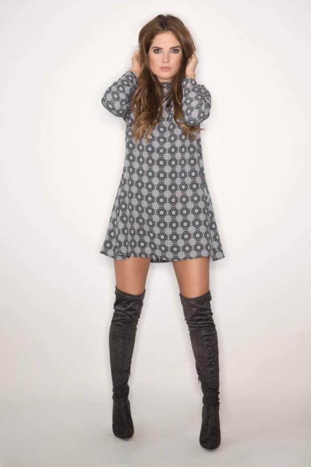 Binky Grey Tile Print Turtle Neck Dress