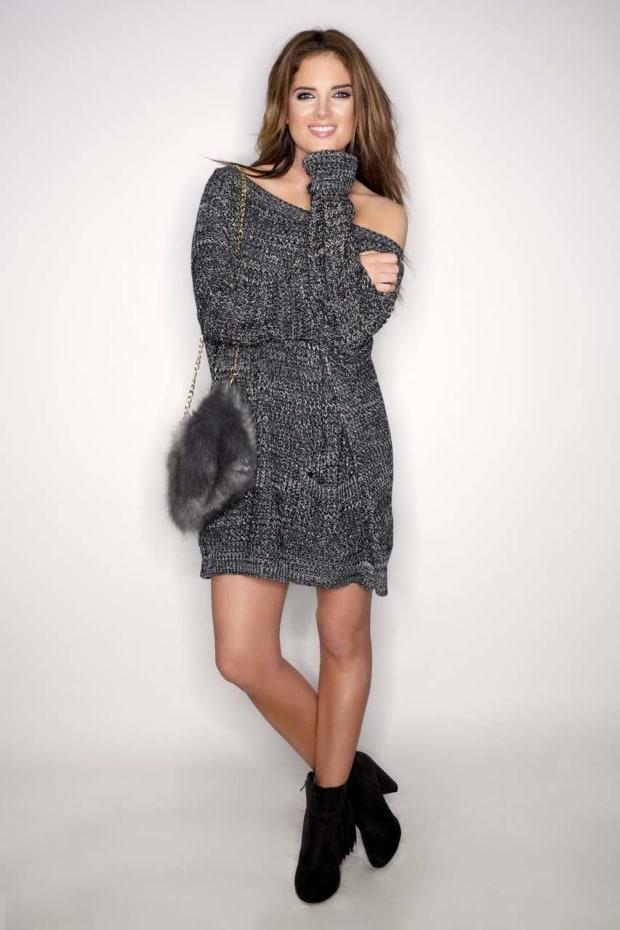 Binky Oversized Grey Jumper Dress