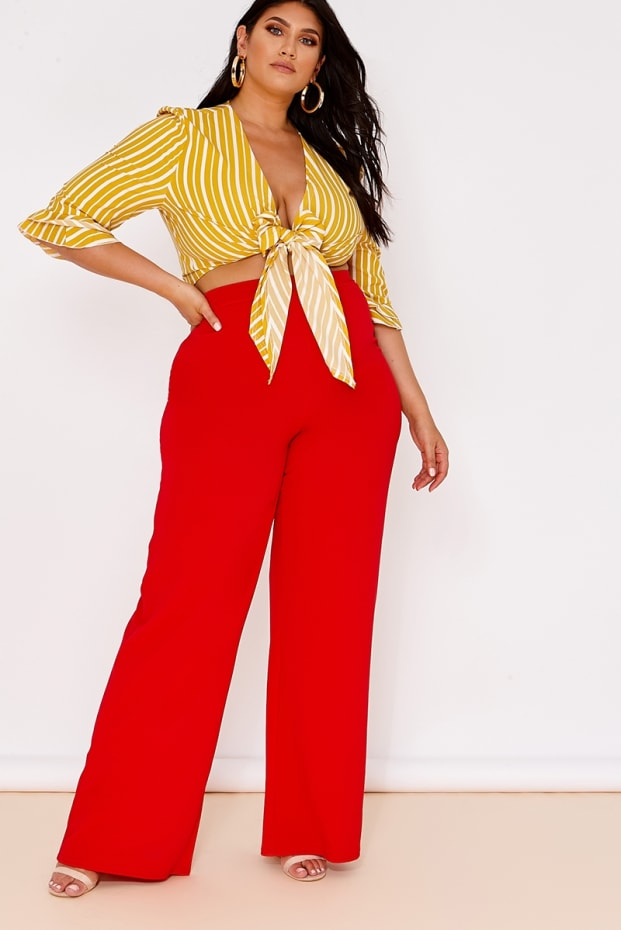 a8980c4722411 CURVE LATECIA RED CREPE WIDE LEG TROUSERS. 1