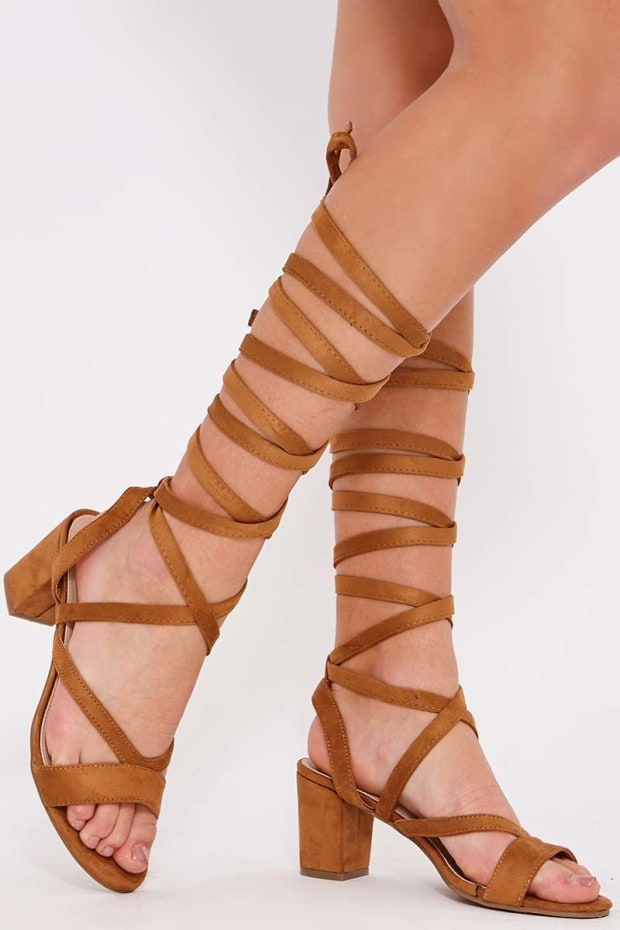 PEPI CAMEL FAUX SUEDE LACE UP OPEN TOE HEELED SANDALS