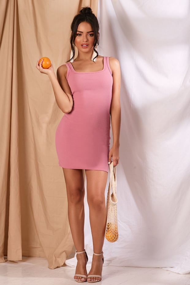 LEEANE DUSKY PINK CREPE SQUARE NECK MINI DRESS