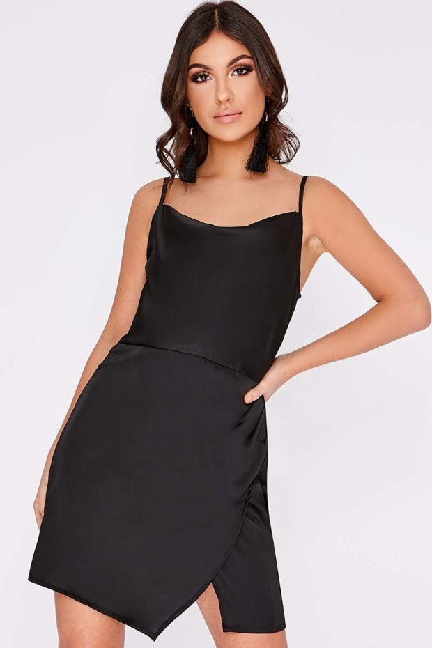 ANAIS BLACK COWL NECK WRAP SPLIT DRESS
