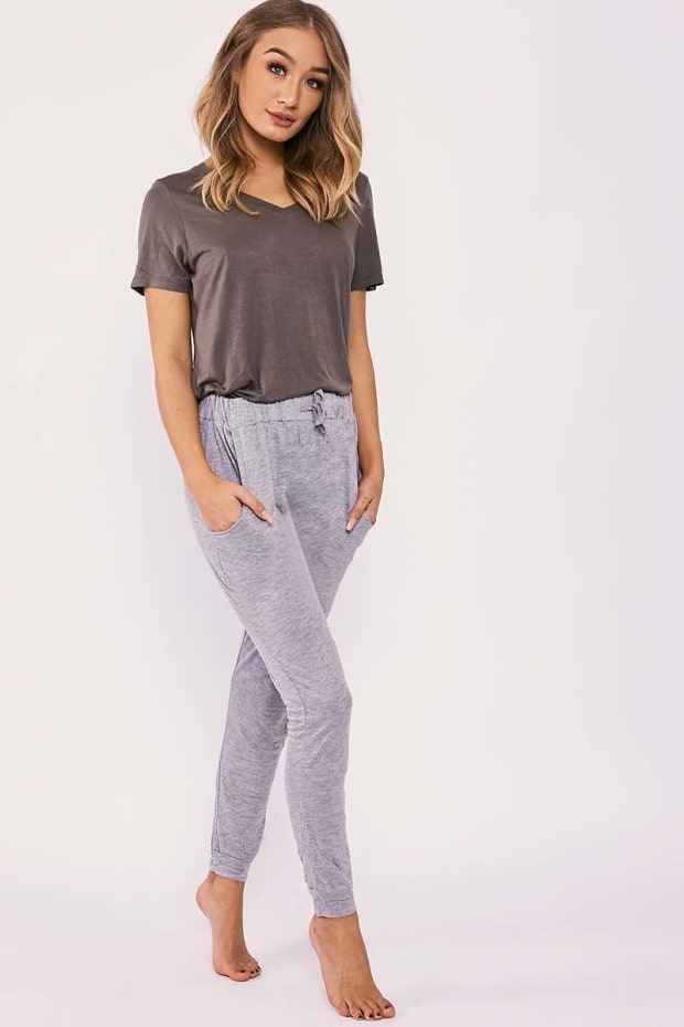 DELILA GREY JERSEY DRAWSTRING WAIST PYJAMA BOTTOMS