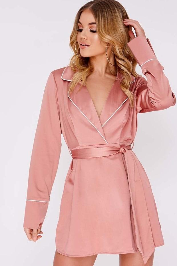 CIANA NUDE SATIN CONTRAST PIPED SHIRT DRESS