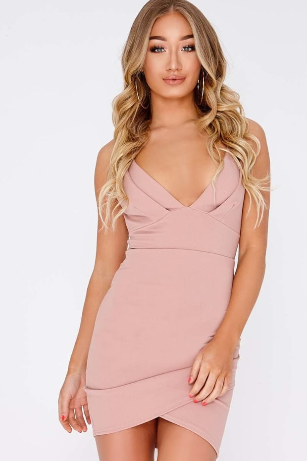 CAEL PINK DOUBLE STRAP WRAP DRESS