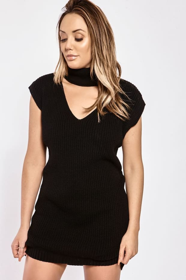 CHARLOTTE CROSBY BLACK SLEEVELESS CUT OUT COLLAR JUMPER DRESS
