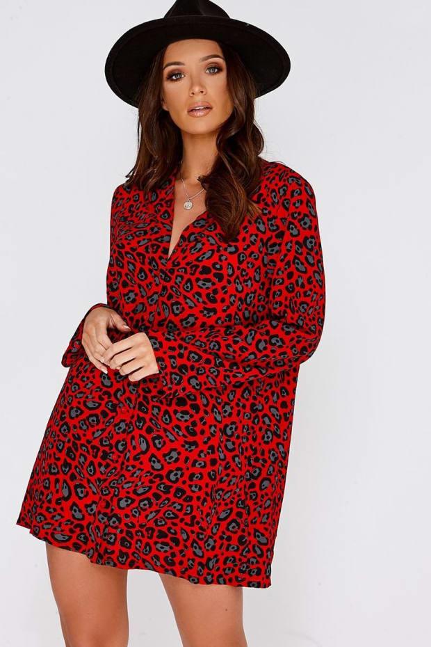EDWINA RED LEOPARD PRINT PLUNGE SHIRT DRESS
