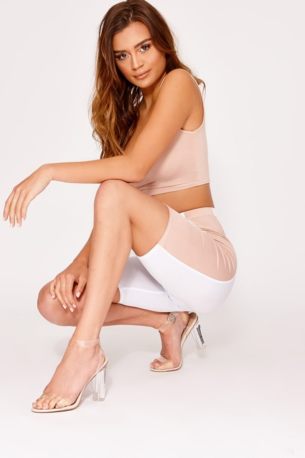 BASIC NUDE AND WHITE CONTRAST SIDE STRIPE CYCLING SHORTS