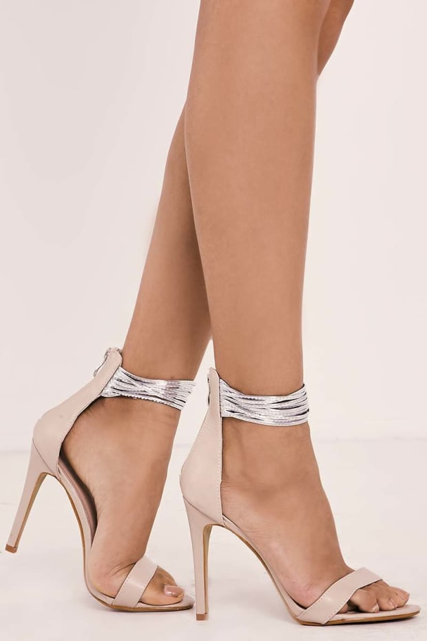 PERRIS NUDE FAUX LEATHER MULTI ANKLE STRAP BARELY THERE HEELS