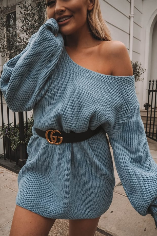 SARAH ASHCROFT BLUE OVERSIZED MULTIWAY JUMPER DRESS