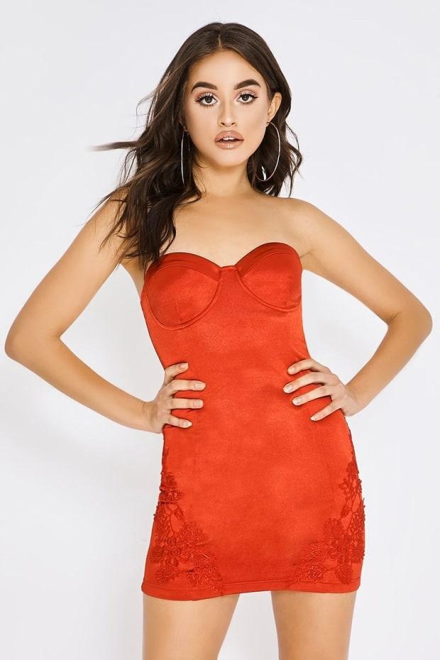 PIA MIA RED SATIN APPLIQUE DRESS