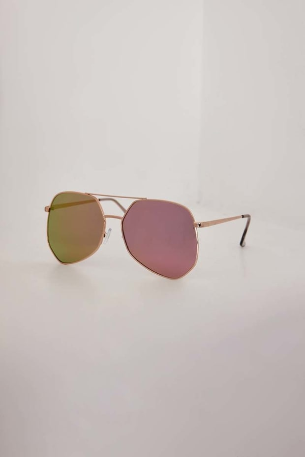 ROSE GOLD MIRRORED LENS SUNGLASSES