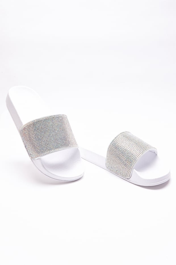 SABIA WHITE HOLOGRAPHIC DIAMANTE SLIDERS